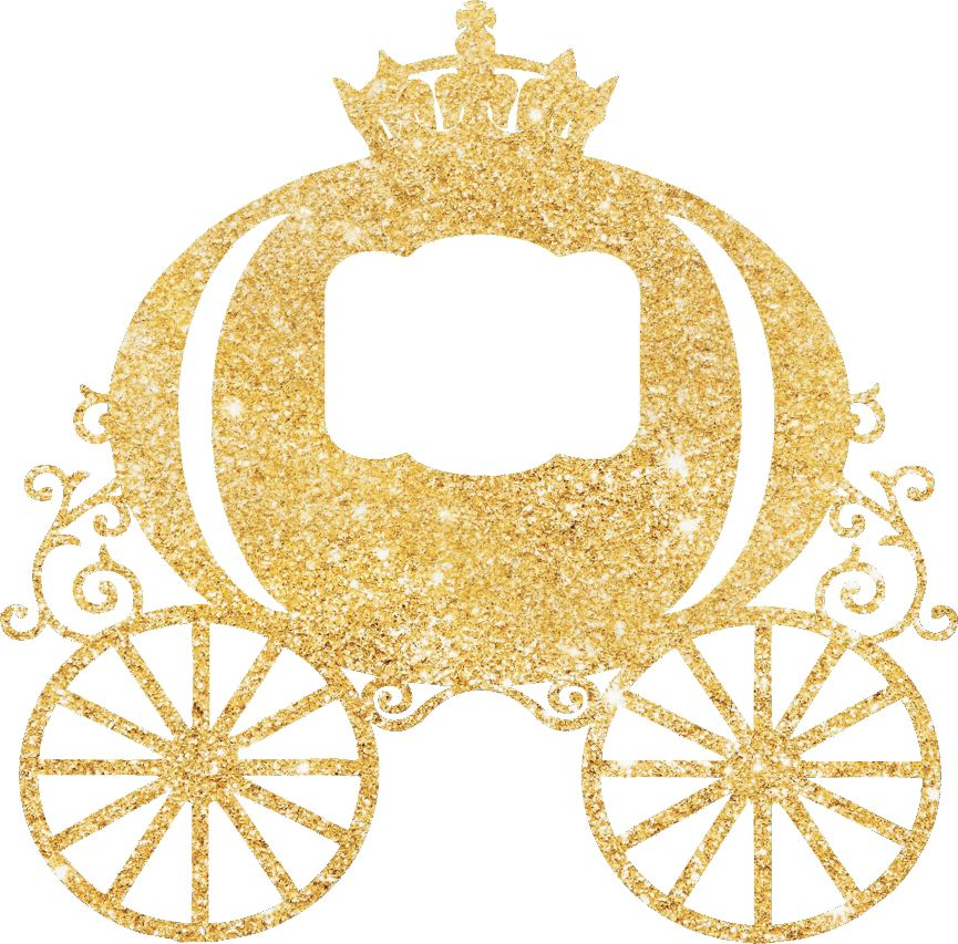 Princess Carriage Glitter Cake Pick Topper Sparkly