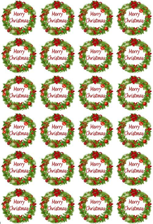 Christmas Cupcake Toppers.24 Christmas Toppers Edible Icing Cupcake Toppers