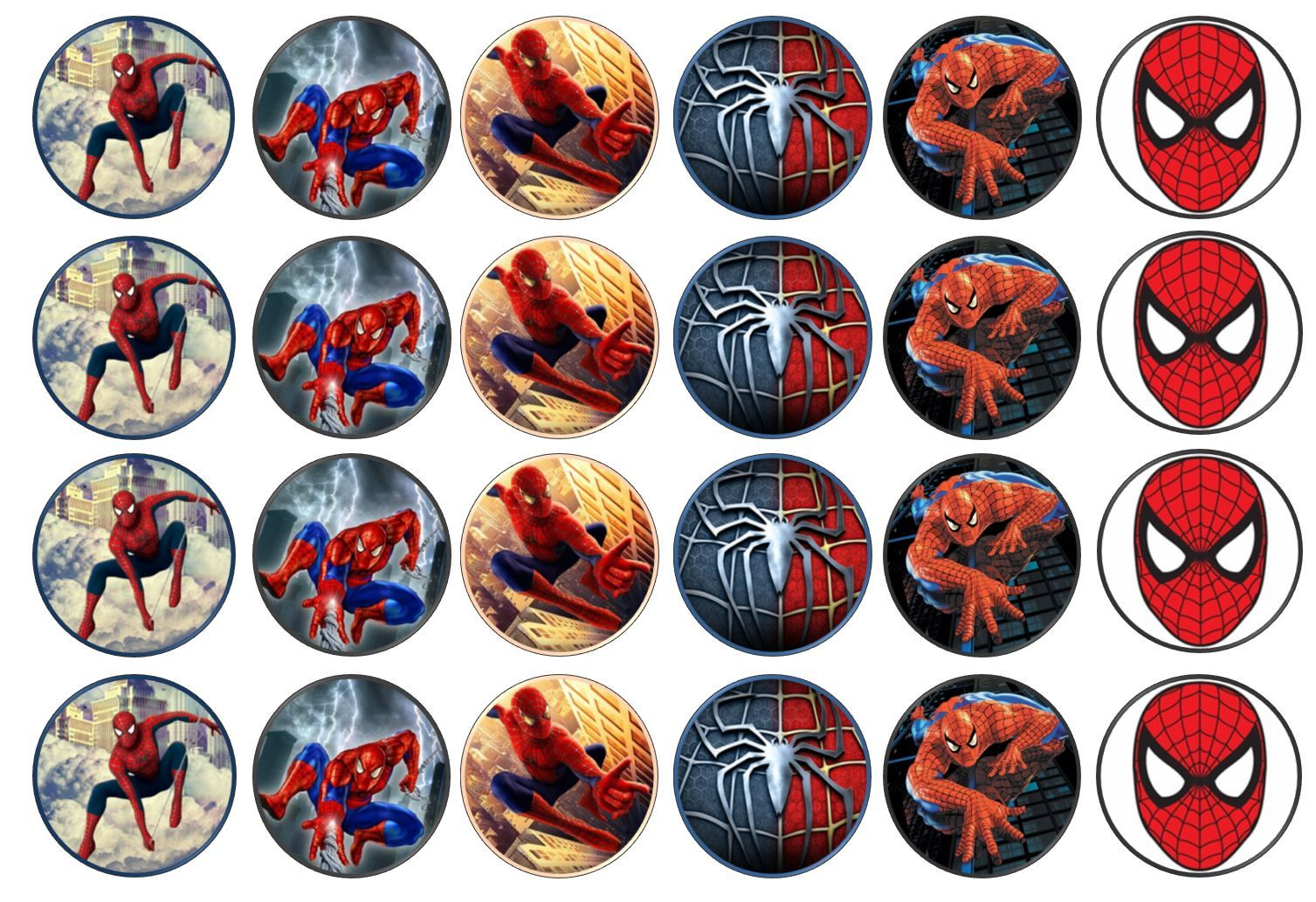 48 Spiderman Marvel Edible Rice Paper Toppers 3cm X 3cm