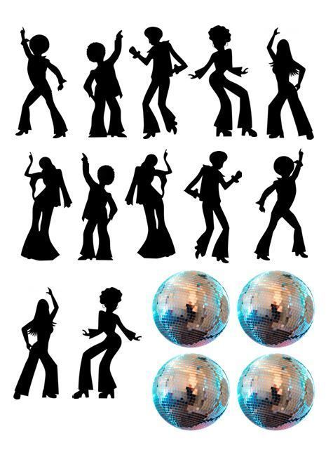 Disco Dance Silhouette And Disco Balls Edible Icing Decor