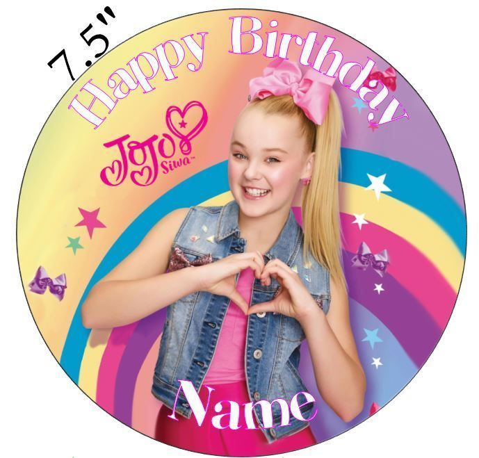 JoJo Siwa Inspired Personalised Edible Icing Cake Topper 75in Precut