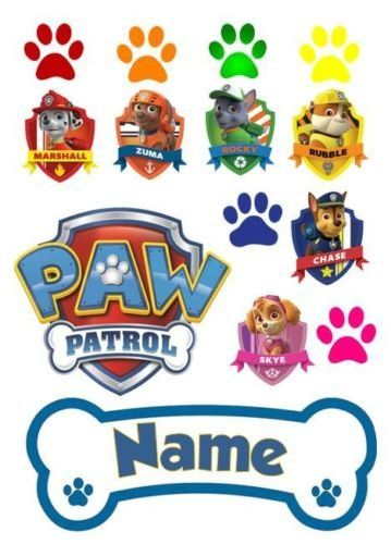 Paw Patrol Logos and Bone - Personalised Cake Decor Edible Icing
