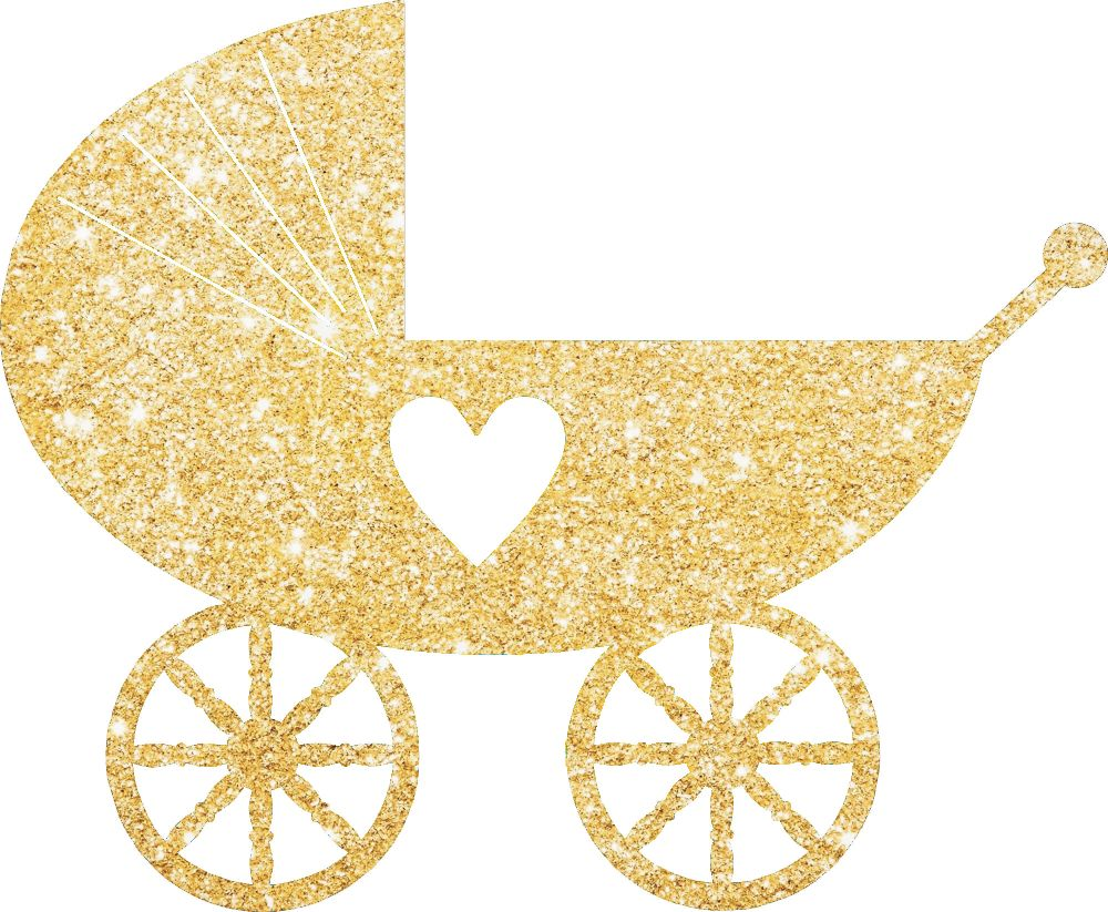 Pram Baby Shower Glitter Cake Pick Topper Sparkly Decoration