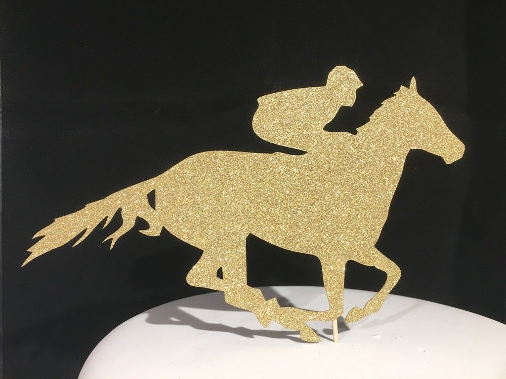 Racehorse Gold Glitter Sparkly Cake Topper Decoration Laser Cut