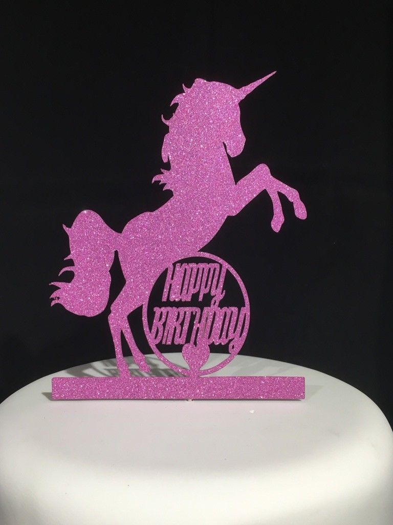 Unicorn Happy Birthday Pink Glitter Sparkly Cake Topper Decoration Laser Cut